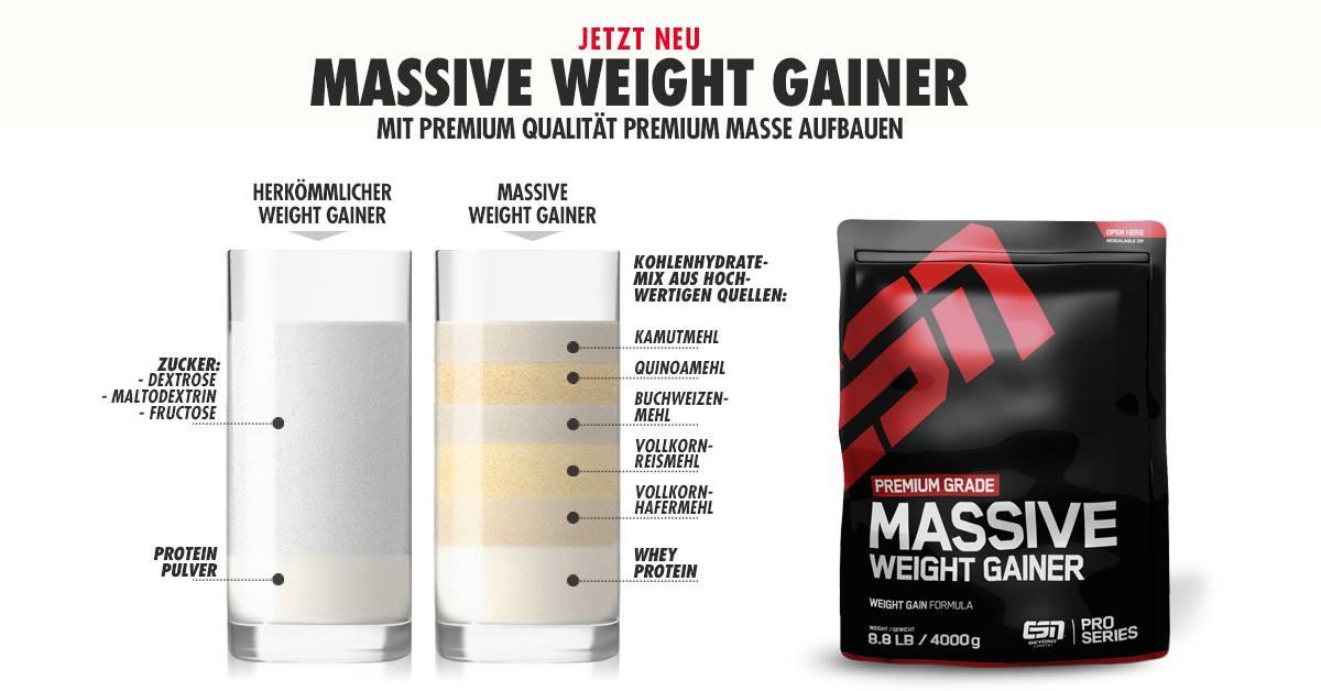 Massive Weight Gainer Zusammensetzung - Massive Weight Gainer von ESN - Der erste 5 Komponenten Gainer