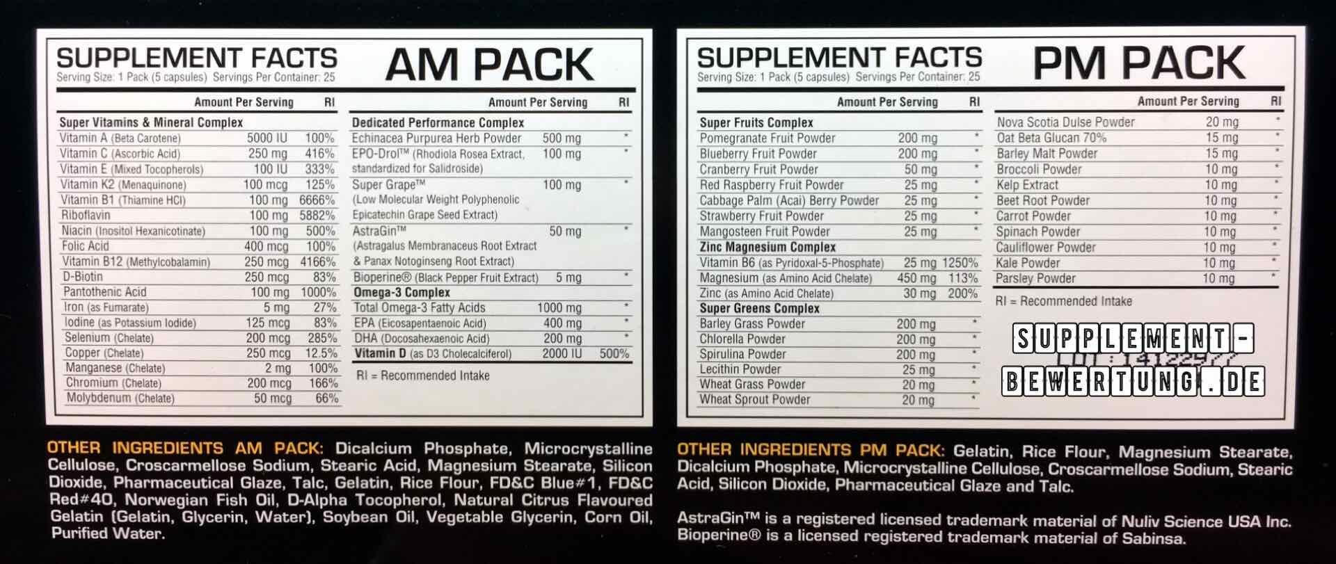 Dedicated Pack Inhaltsstoffe - Dedicated Pack - Der Vitamin und Minerailien Komplex im Test