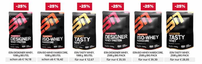 ESN 25 Prozent - FITMART - 25 Prozent auf alle ESN Proteine und Kapselprodukte
