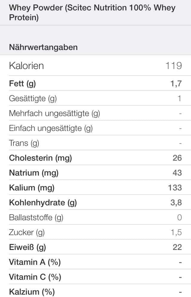 Scitec Nutrition Whey Nährwerttabelle - 100% Whey Protein Scitec Nutrition Test