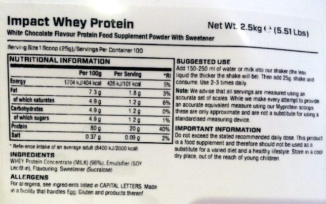 MyProtein Impact Whey Inhaltsstoffe