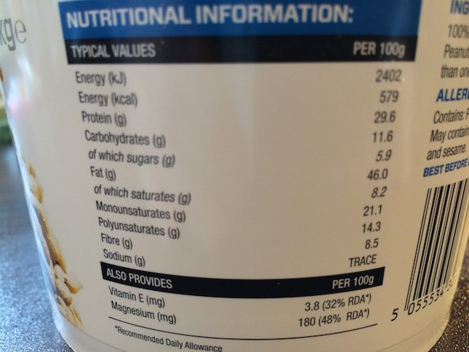 Myprotein Erdnussbutter Nährwerte
