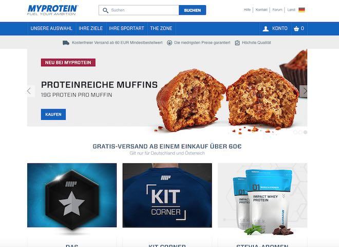 Myprotein Seitenaufbau - MyProtein oder Gonutrition - Wer hat den besseren Servivce?