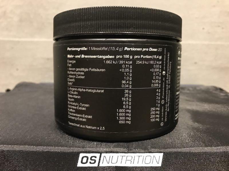 Götterpuls Nährwerte - Götterpuls - der Workout Booster von OS Nutrition im Test