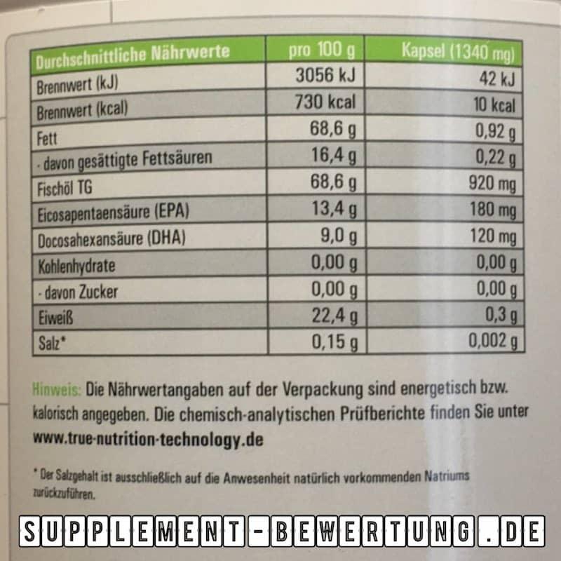 TNT Omega 3 Inhaltsstoffe