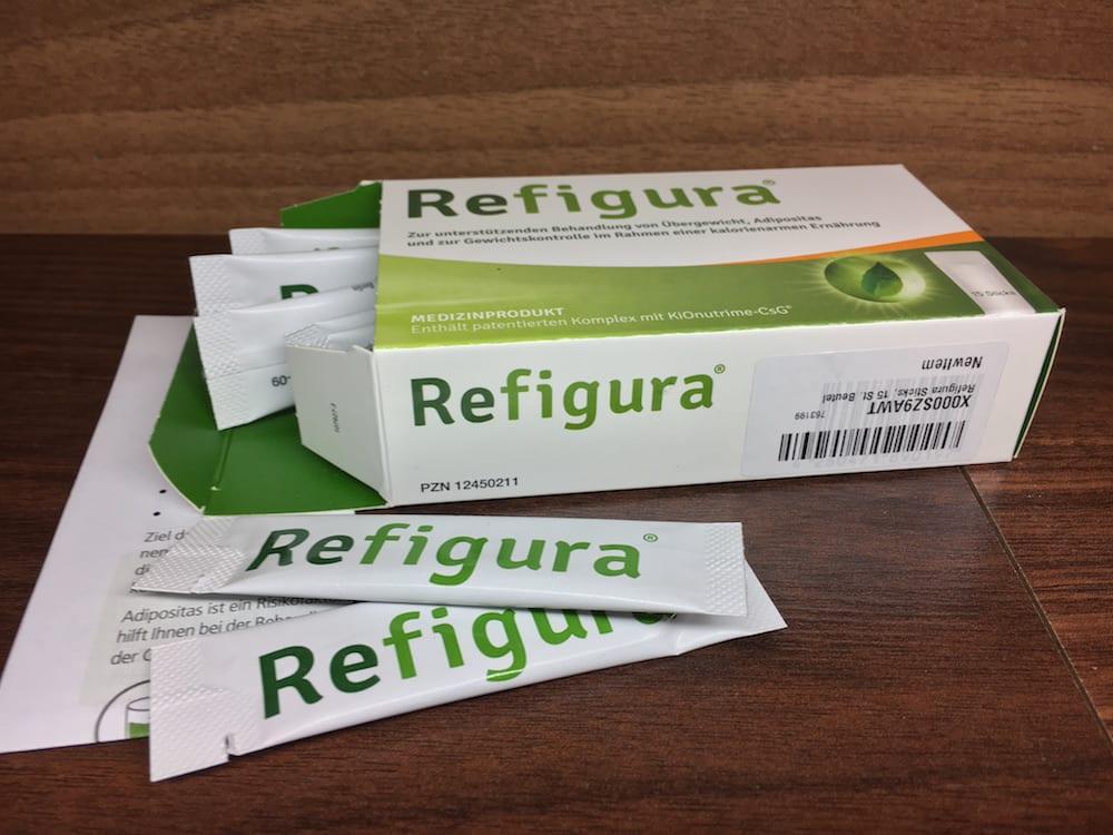Refigura Sticks und die Verpackung samt Einnahme-Anleitung