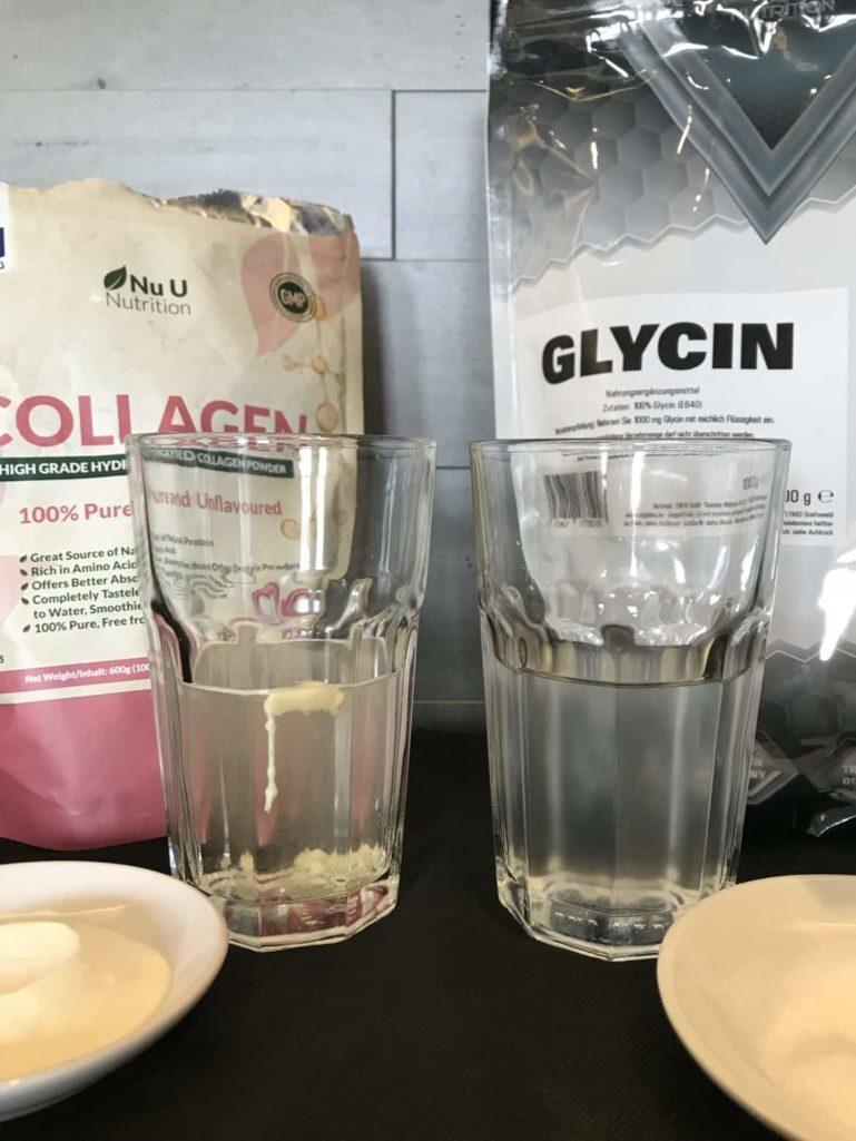 Vergleich des Kollagenhydrolysat von NuU und des L-Glycin Pulvers von Syglabs