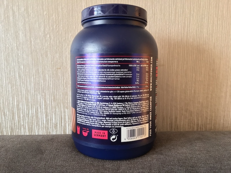 Multipower Whey Isolate Inhaltsstoffe