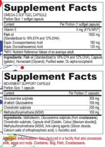 Zutaten Omega 3 und Gelenksupport Kapseln