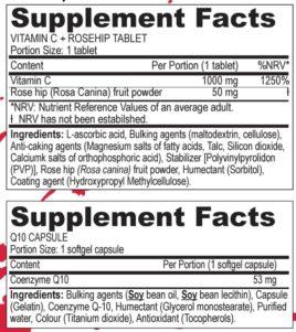 Zutaten Vitamin C Tablette und Q10 Kapsel