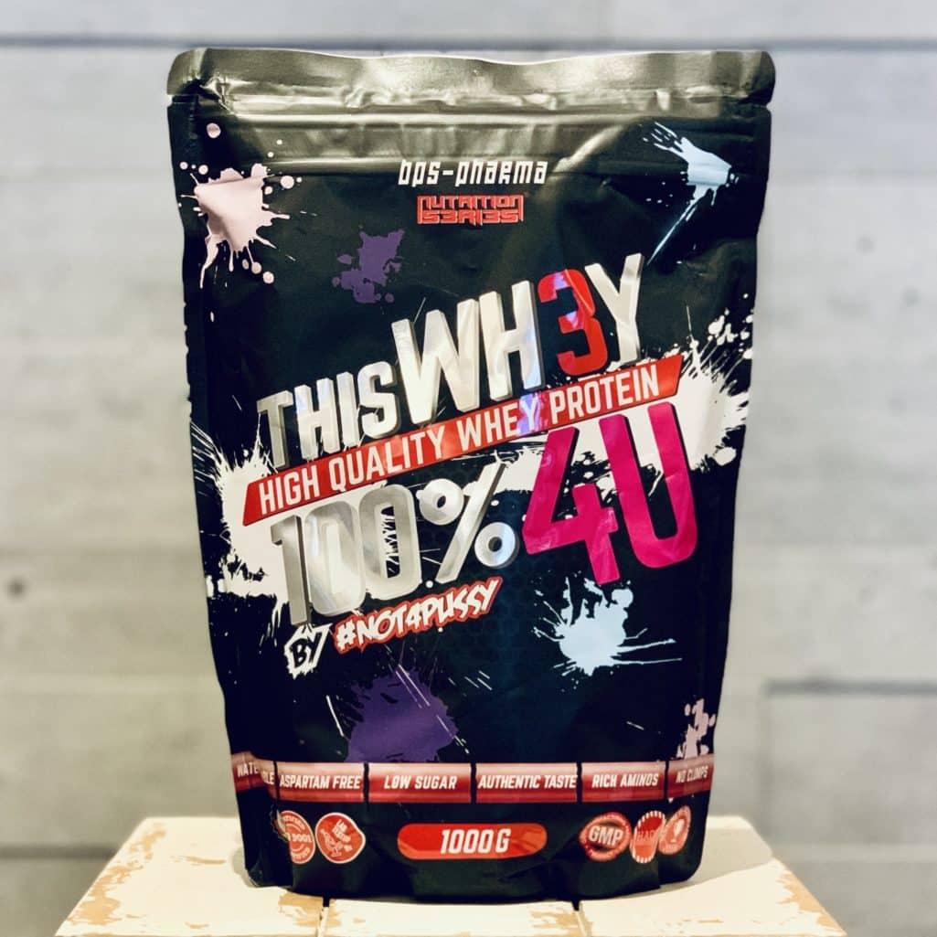 Die Verpackung des Whey 100% 4U